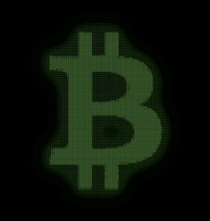 Green bitcoin symbol constructed vector