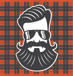 hipster head on plaid background vector image
