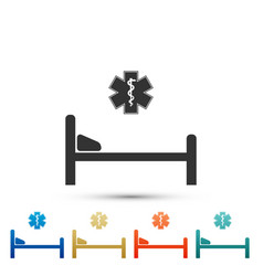 Hospital bed with emergency - star of life icon vector