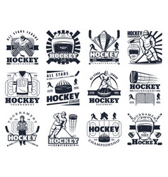 ice hockey sport tournament and cup icons vector image