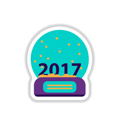 In paper sticker style merry vector