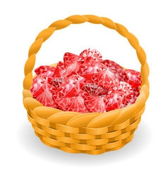 Isolated basket with red rubies vector