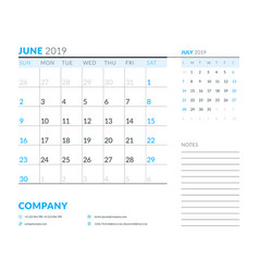 june 2019 week starts on sunday calendar planner vector image