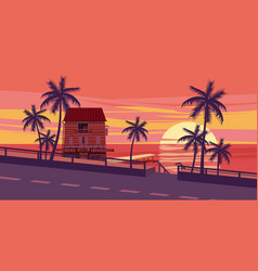 Lovely sunset sea road trees house with vector