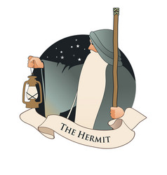 Major arcana emblem tarot card the hermit old man vector