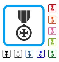 Maltese cross framed icon vector