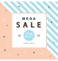 Mega Sale banner with geometric shapes vector