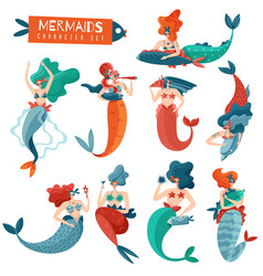 mermaids characters set vector image