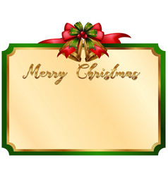 merry christmas card with green border vector image