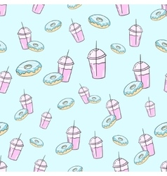 Milkshake and donut seamless pattern vector