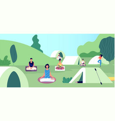 morning meditation summer yoga camping people vector image