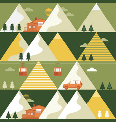 Mountains in summer seamless pattern vector