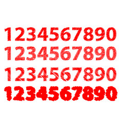 numbers 0-1-2-3-4-5-6-7-8-9 vector image