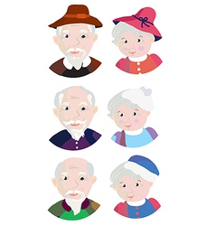 Old couple grandparents icons vector
