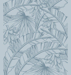 Palm leaves and bananas pattern tropic line art vector