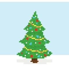 Pixel art christmas tree postcard vector image vector image
