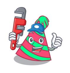Plumber party hat mascot cartoon vector