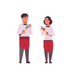 Professional waiters couple holding bottles of vector