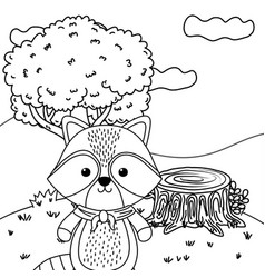 Raccoon cartoon with kerchief design vector