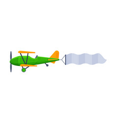 retro green biplane with blank banner flying in vector image