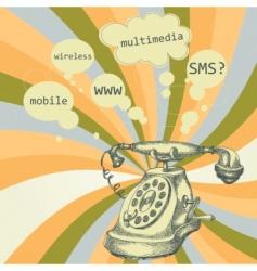 retro telephone background vector image