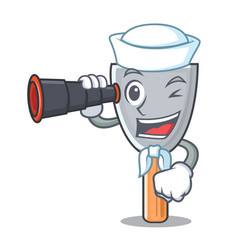Sailor with binocular cartoon putty knife in vector