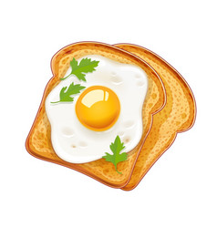 Sandwich with fried egg fast vector