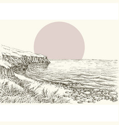Sea beach and cliff sketch vector