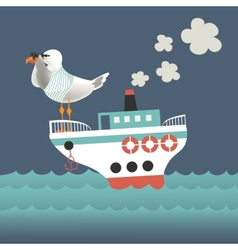 Seagull looking through binoculars on the vessel vector image