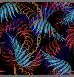 seamless pattern with blue red and orange palm vector image