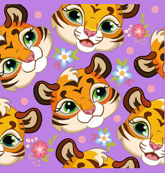 Seamless pattern with cute tigers heads purple vector