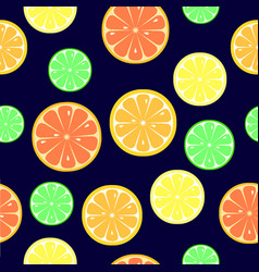 Seamless pattern with slices of orange lemon vector