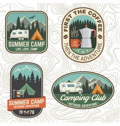 Set camping and caravanning club badges vector