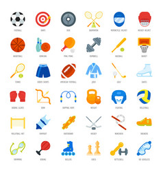 Set flat icons of sports equipment vector