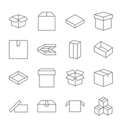 set of box icons in modern thin line style high vector image