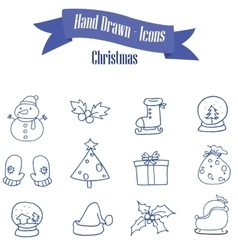 Set of Christmas icons with snowman gift vector