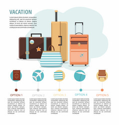 set travel suitcases on white vacation vector image