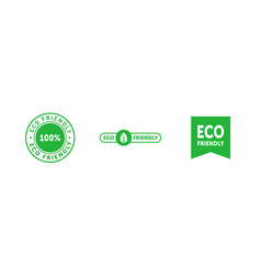 set various eco friendly 100 percent green vector image