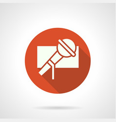 Singer microphone red round icon vector