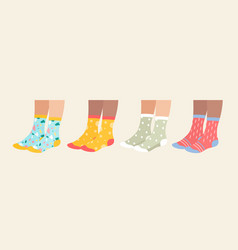 socks on legs set cartoon vector image