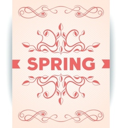 Spring word with leaves swirly vector image