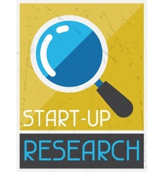 Start-up research retro poster in flat design vector