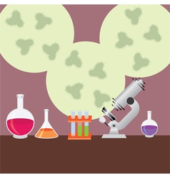 test tubes and microscope vector image