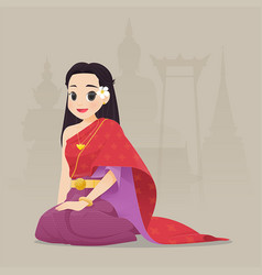 thai woman vector image