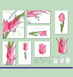 Tulip set with visitcards and greeting templates vector