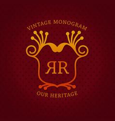 Vintage monogram template design vector