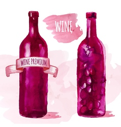 Watercolor artistic wine bottle vector