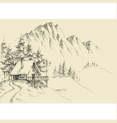 Winter alpine landscape and winter holiday cabin vector