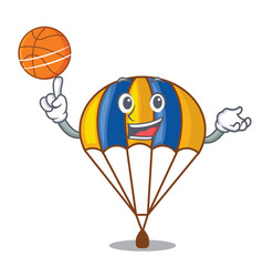 with basketball parachute in the shpe of charcter vector image