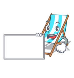 With board beach chair character cartoon vector